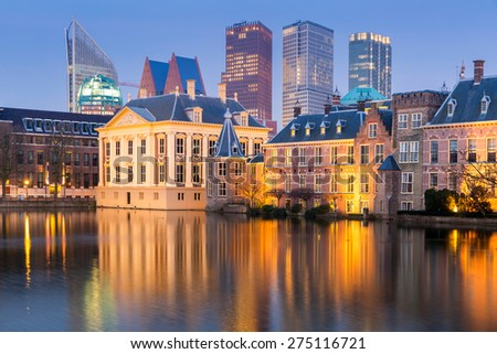 Binnenhof palace, place of Parliament in The Hague, of Netherlands at dusk - stock photo