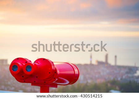 Binocular at viewpoint at sunset. Batumi, Adjara, Georgia