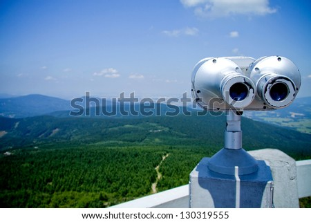 Binocular panoramic, view of the mountain landscape