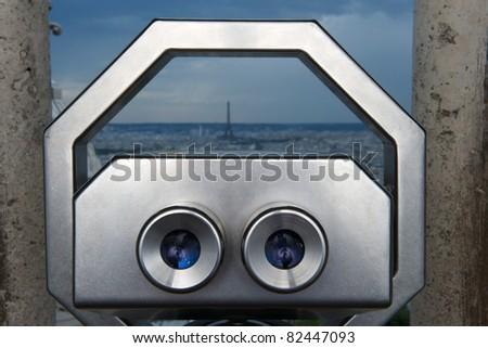 binocular paris - stock photo