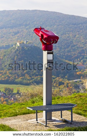 Binocular view of the country landscape - Schlossberg Hainburg - stock photo