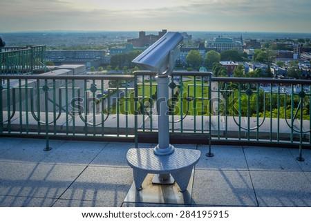 Binocular viewer St Joseph Oratory Montreal Canada - stock photo