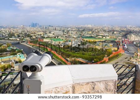 Binoculars and Moscow Kremlin - aerial view - stock photo