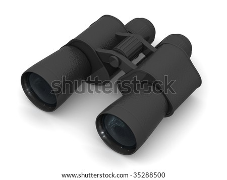 Binoculars. 3d - stock photo