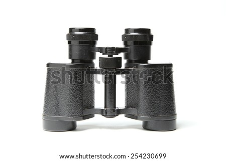 Binoculars isolated over white - stock photo