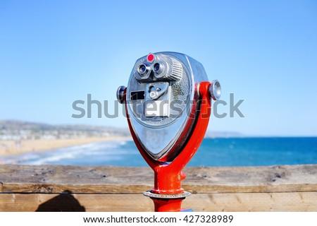 Binoculars looking to the Pacific ocean in Los Angeles, CA, USA  - stock photo