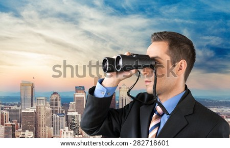 Binoculars, Searching, The Way Forward. - stock photo