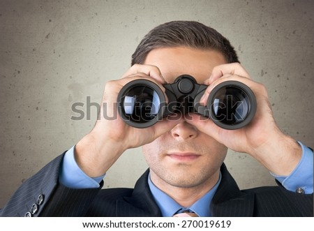 Binoculars, Surveillance, Business. - stock photo