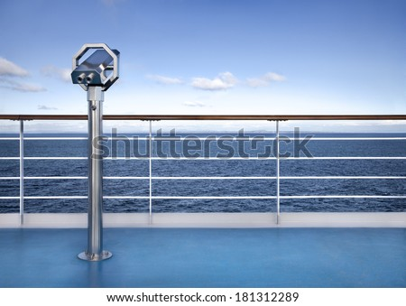 Binoculars watching at horizon at ship deck - stock photo