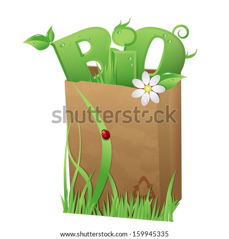 Bio bag/Recycled paper bag with fun Bio text in it  - stock photo