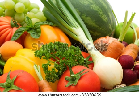 bio fresh fruits and vegetables - stock photo