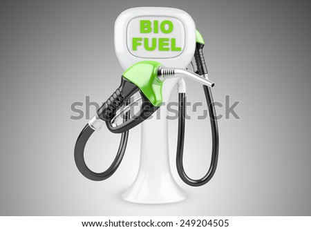 Bio fuel concept with nozzle. Isolated 3d image. - stock photo