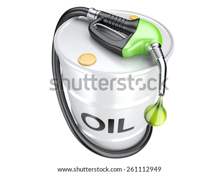 Bio fuel concept with oil barrel and gas pump nozzle. Isolated 3d image.