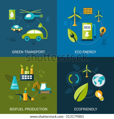 Bio fuel design concept set with green transport eco energy biofuel production flat icons isolated  illustration - stock photo