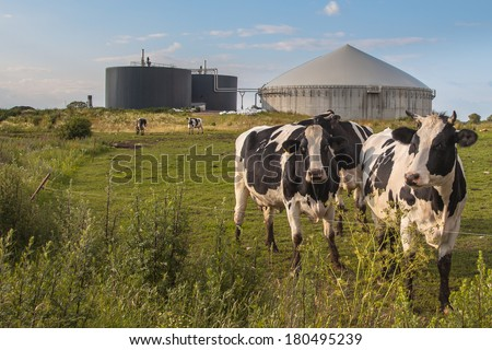 Bio Gas Installation Processing Cow Dung as part of a Farm - stock photo
