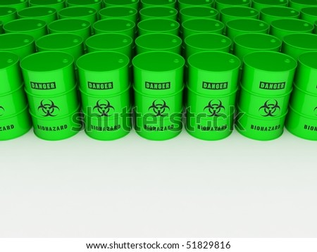 Bio hazard barrels - stock photo