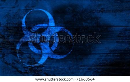 bio hazard sign on wooden crate - stock photo