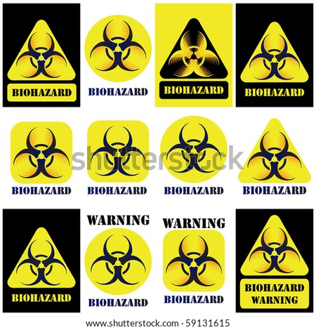 Bio-hazard sign, symbol set isolated on white and black - stock photo