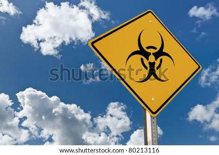 Bio hazer road sign - stock photo