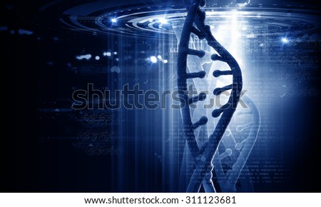 Biochemistry concept with digital blue DNA molecule - stock photo