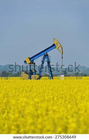 biodiesel concept (a pump jack with a canola field in background) - stock photo