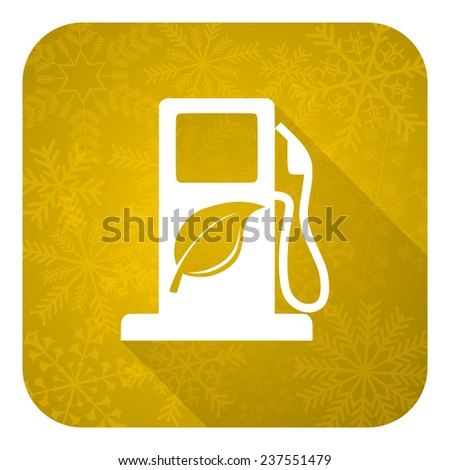 biofuel flat icon, gold christmas button, bio fuel sign  - stock photo
