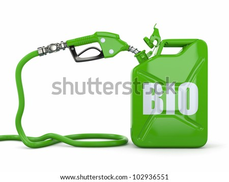 Biofuel. Gas pump nozzle and jerrycan. 3d - stock photo