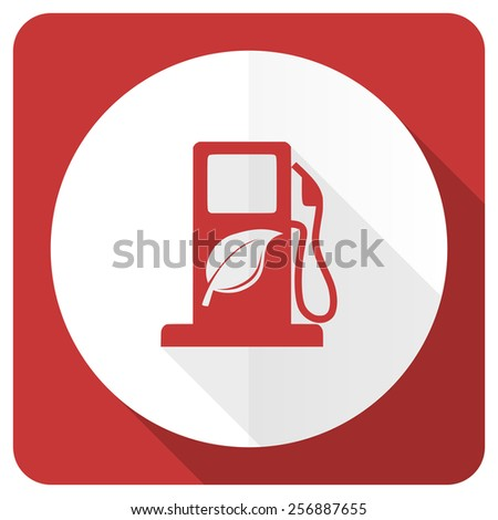 biofuel red flat icon bio fuel sign  - stock photo