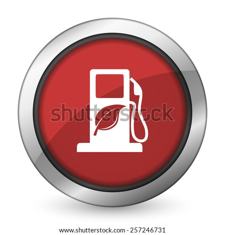 biofuel red icon bio fuel sign  - stock photo