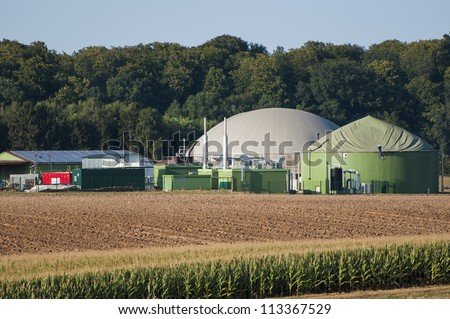 Biogas plant. - stock photo