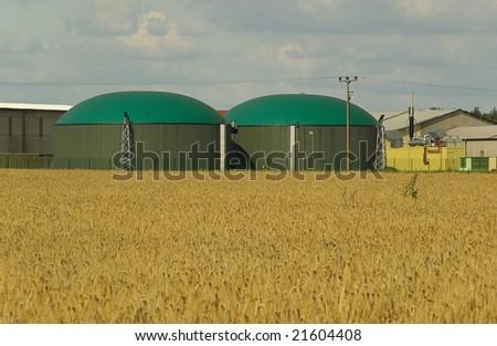biogas plant - stock photo