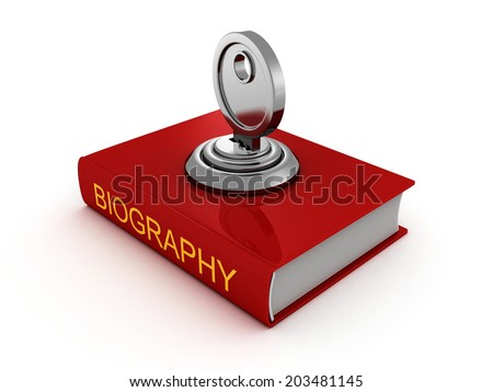 biography book with lock key. private security concept 3d render illustration - stock photo