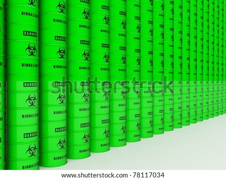Biohazard barrels wall - stock photo