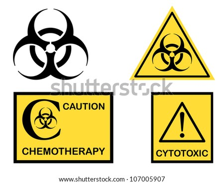 Biohazard Cytotoxic Chemotherapy Symbols Icons Isolated Stock