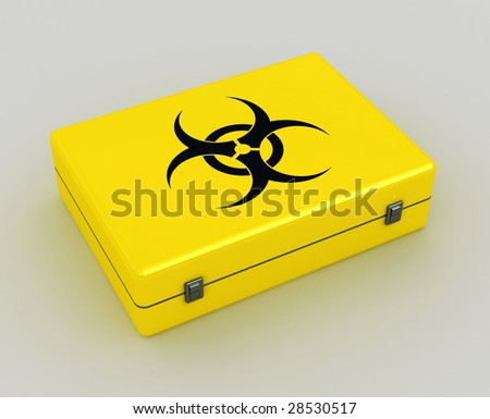 biohazard 3d yellow case metaphor image of danger - stock photo