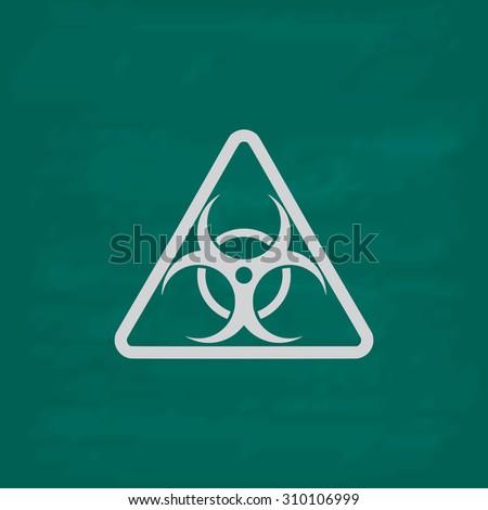 Biohazard.  Icon. Imitation draw with white chalk on green chalkboard. Flat Pictogram and School board background. Illustration symbol - stock photo