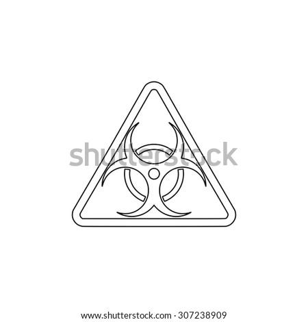 Biohazard. Outline black simple symbol - stock photo