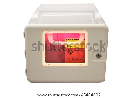Biohazard sharps and needle disposal box isolated on a white background - stock photo