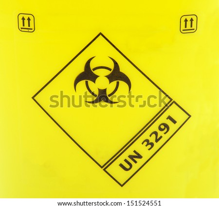 Biohazard sign on a yellow background. - stock photo