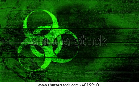 biohazard sign on woodwn crate - stock photo
