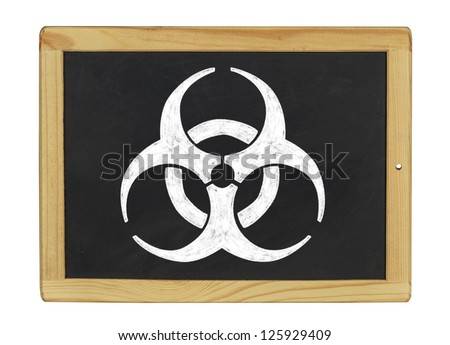 biohazard symbol on a blackboard