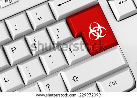 Biohazard symbol on a red keyboard key as symbol for malware (3D Rendering) - stock photo
