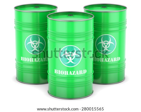 Biohazard waste barrels symbol chemical toxic green isolated - stock photo
