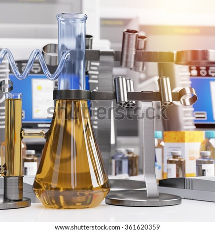 biological chemical laboratory science and technology concept background - stock photo