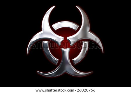Biological hazard metallic Sign - stock photo