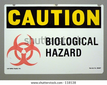 biological hazard sign in a lab - stock photo