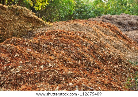 Biomass and mulch, organic material. - stock photo