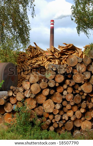 Biomass in front of a power plant - stock photo