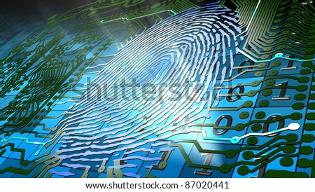 Biometric fingerprint-based identification. Method for uniquely recognizing humans based upon fingerprint traits. - stock photo