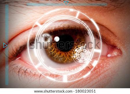 Biometric iris scan security screening - stock photo